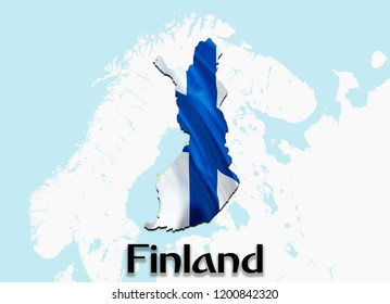 Flag Map of Finland. 3D rendering Finland map and flag. The national symbol of Finland. Finnish flag on Europe background. National Finnish flag on Europe map 3D pattern download HD background