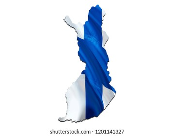 Flag Map of Finland. 3D rendering Finland map and flag. The national symbol of Finland. Finnish flag map background image download HD. Finnish National waving flag colorful concept 3D pattern