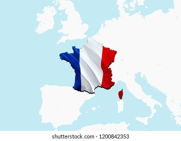 Flag Map of France. 3D rendering France map and flag. The national symbol of France. French National waving flag colorful concept 3D pattern background download HD. French flag map background image