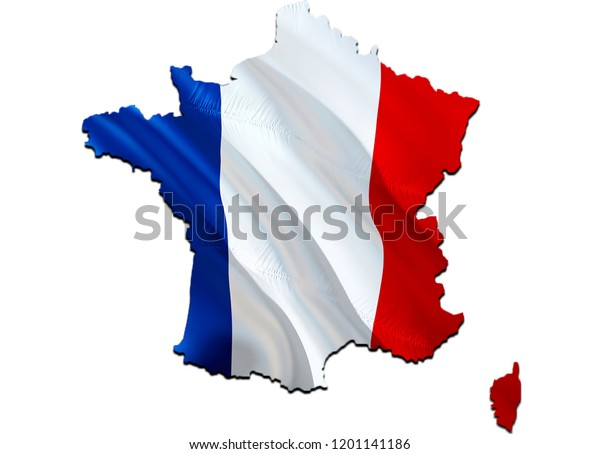 Flag Map France 3d Rendering France Stock Illustration