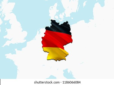 Flag Map of Germany. 3D rendering Germany map and flag on Europe map. The national symbol of Deutchland. Federal Republic of Germany. German flag on Europe background. National German flag on Europe