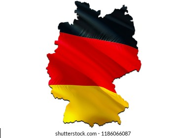 Flag Map of Germany. 3D rendering Germany map and flag. The national symbol of Deutchland. Federal Republic of Germany. German flag map background image download HD. German National waving flag