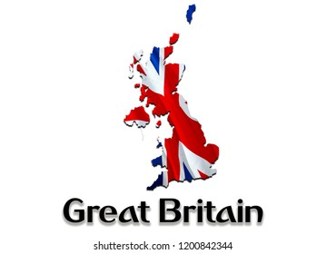 Flag Map of Great Britain. 3D rendering Great Britain map and flag. The national symbol of Great Britain. UK flag map background image download HD. UK National waving flag colorful concept 3D pattern