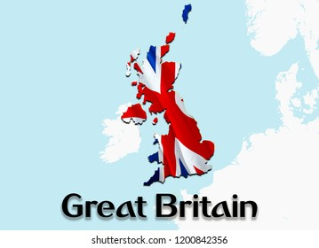 Flag Map of Great Britain. 3D rendering Great Britain map and flag. The national symbol of Great Britain. UK flag on Europe background. National UK flag on Europe map 3D pattern download HD background