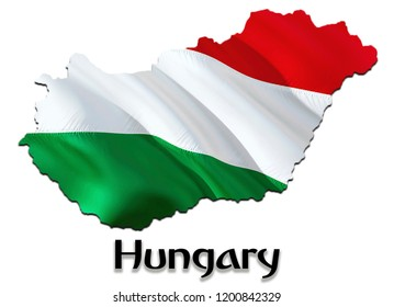 Flag Map of Hungary. 3D rendering Hungary map and flag. The national symbol of Hungary. Hungarian flag map background image download HD. Hungarian National waving flag colorful concept 3D pattern