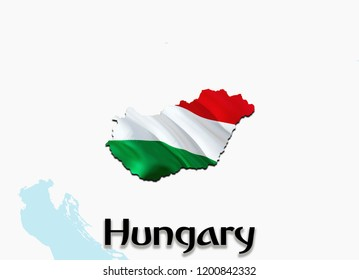 Flag Map of Hungary. 3D rendering Hungary map and flag. The national symbol of Hungary. Hungarian flag on Europe background. National Hungarian flag on Europe map 3D pattern download HD background