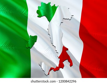 Flag Map of Italia. 3D rendering Italia map and flag. The national symbol of Italia. Italian flag map background image download HD. Italian National waving flag colorful concept 3D pattern background