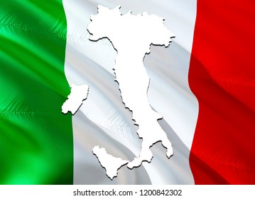 Flag Map of Italia. 3D rendering Italia map and flag. The national symbol of Italia. Italian flag on Europe background. National Italian flag on Europe map 3D pattern download HD background