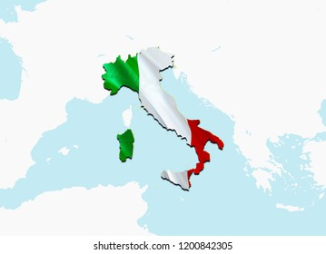 Flag Map of Italia. 3D rendering Italia map and flag. The national symbol of Italia. National waving flag colorful concept 3D pattern background download HD