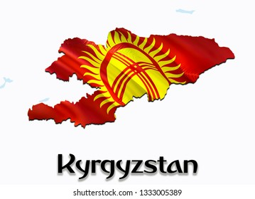 Flag Map of Kyrgyzstan. 3D rendering Kyrgyzstan map and flag on Asia map. The national symbol of Kyrgyzstan.  Bishkek flag map background image download HD.Kyrgyzstan National waving flag