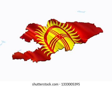 Flag Map of Kyrgyzstan. 3D rendering Kyrgyzstan map and flag on Asia map. The national symbol of Kyrgyzstan.  Bishkek flag on Asia background. National Kyrgyzstan flag on Asia