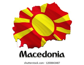 Flag Map of Macedonia. 3D rendering Macedonia map and flag. The national symbol of Macedonia. Macedonian flag map background image download HD. Macedonian National waving flag colorful concept 3D
