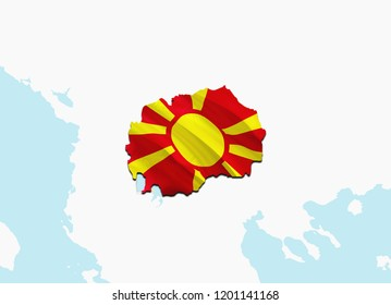 Flag Map of Macedonia. 3D rendering Macedonia map and flag. The national symbol of Macedonia. Macedonian flag on Europe background. National Macedonian flag on Europe map 3D pattern download HD