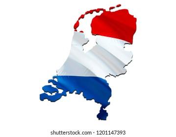 Flag Map of Netherlands. 3D rendering Netherlands map and flag. The national symbol of Netherlands. Holland flag map background image download HD. Holland National waving flag colorful concept 3D