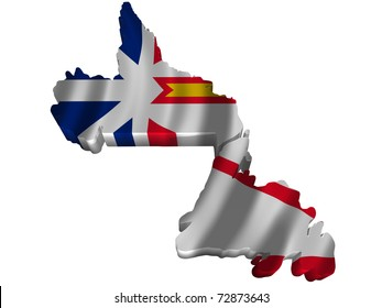 Flag and map of Newfoundland and Labrador