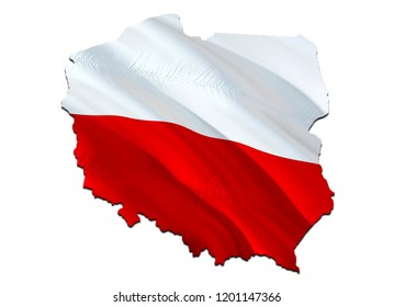 Flag Map of Poland. 3D rendering Poland map and flag. The national symbol of Poland. Polish flag map background image download HD. Polish National waving flag colorful concept 3D pattern background