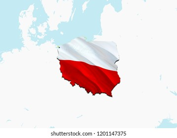 Flag Map of Poland. 3D rendering Poland map and flag. The national symbol of Poland. Polish flag on Europe background. National Polish flag on Europe map 3D pattern download HD background