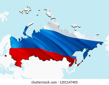 Flag Map of Russia. 3D rendering Russia map and flag. The national symbol of Russia. Russian Federation flag on Europe background. National Russian Federation flag on Europe map 3D download HD
