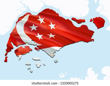 Flag Map of Singapore. 3D rendering Singapore map and flag on Asia map. The national symbol of Singapore. Singaporeans flag on Asia background. National Singapore flag on Asia