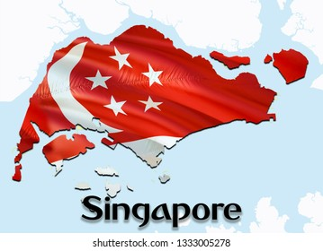 Flag Map of Singapore. 3D rendering Singapore map and flag on Asia map. The national symbol of Singapore. Singaporeans flag map background image download HD.Singapore National waving flag
