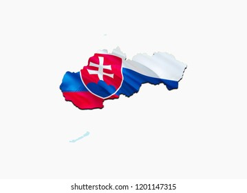 Flag Map of Slovakia. 3D rendering Slovakia map and flag. The national symbol of Slovakia.Slovakian flag map background image download HD. Slovakian National waving flag colorful concept 3D pattern