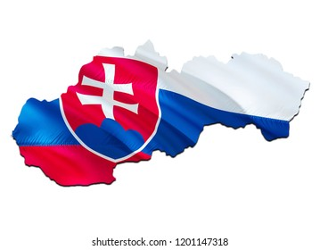 Flag Map of Slovakia. 3D rendering Slovakia map and flag. The national symbol of Slovakia. Slovakian flag map background image download HD. Slovakian National waving flag colorful concept 3D pattern