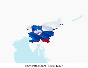 Flag Map of Slovenia. 3D rendering Slovenia map and flag. The national symbol of Slovenia. Slovenian flag map background image download HD. Slovenian National waving flag colorful concept 3D pattern