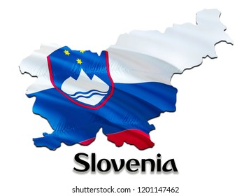 Flag Map of Slovenia. 3D rendering Slovenia map and flag. The national symbol of Slovenia. Slovenian flag map background image. Slovenian National waving flag colorful concept 3D pattern background