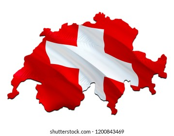 Flag Map of Switzerland. 3D rendering Switzerland map and flag. The national symbol of Switzerland. Swiss flag map background image download HD. Swiss National waving flag colorful concept 3D pattern