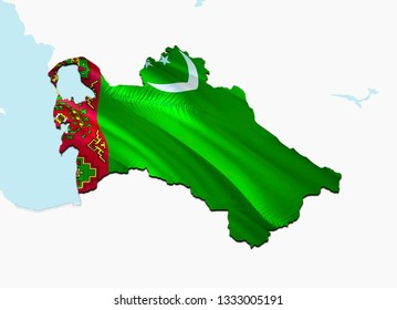 Flag Map of Turkmenistan. 3D rendering Turkmenistan map and flag on Asia map. The national symbol of Turkmenistan. Ashgabat flag on Asia background. National Turkmenistan flag on Asia