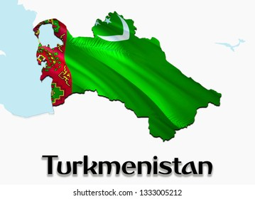 Flag Map of Turkmenistan. 3D rendering Turkmenistan map and flag on Asia map. The national symbol of Turkmenistan. Ashgabat flag map background image download HD.Turkmenistan National waving flag