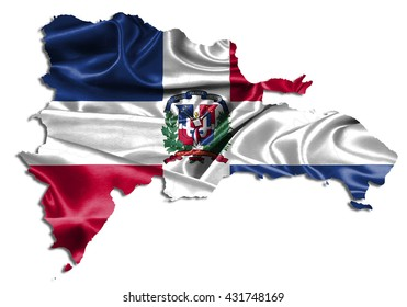 Flag map-dominican Republic country on white background.