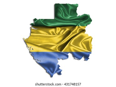 Flag map-gabon country on white background.