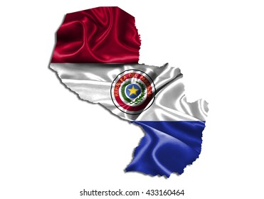 Flag map-paraguay country on white background.