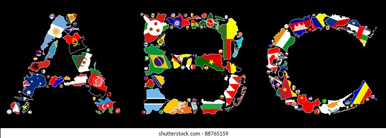 Flag maps and flag badges of some of the countries in the world make up the A, B and C letters of the alphabet.