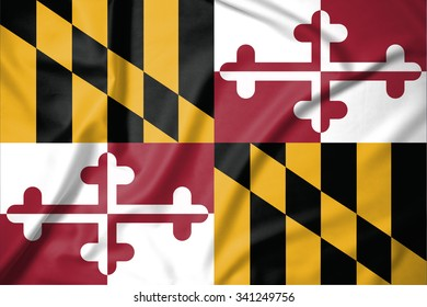 Flag of Maryland state of United States of America on soft and smooth silk texture