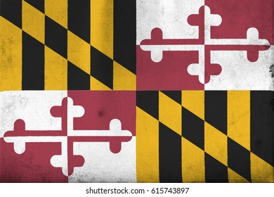 Flag of Maryland, United States of America, with an old, vintage style