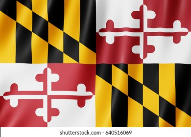 Flag of Maryland, US state. 3D illustration of the Maryland flag waving.