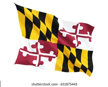 Flag of maryland, US state fluttering flag isolated on white. 3D illustration