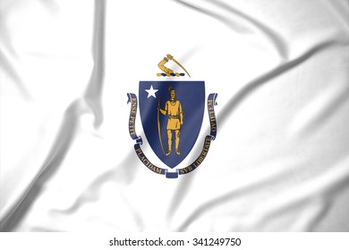 Flag of Massachusetts state of United States of America on soft and smooth silk texture
