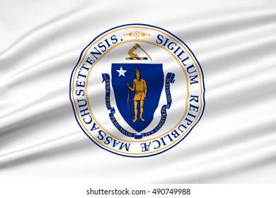 Flag of Massachusetts state in United States. 3D illustration