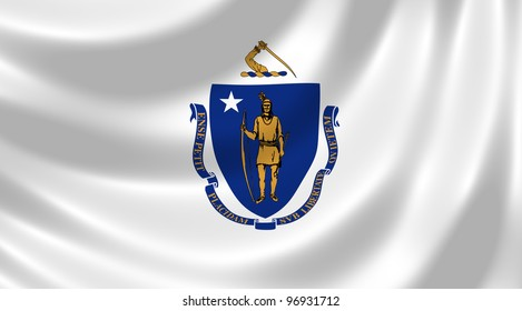 Flag of Massachusetts state waving in the wind detail