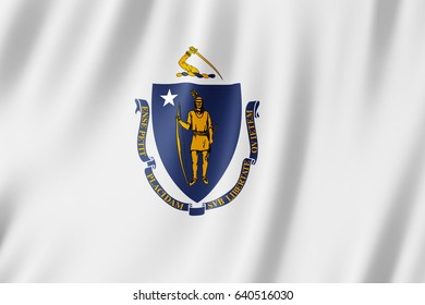 Flag of Massachusetts, US state. 3D illustration of the Massachusetts flag waving.