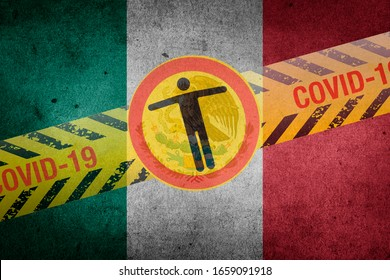 Flag of Mexico with coronavirus safety tape. On the brink of a COVID-19 or 2019-nCoV pandemic