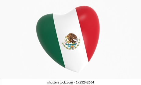 flag of Mexico in heart on white background, 3d rendering