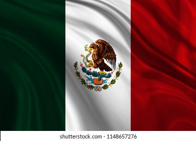Flag of Mexico on silk fabric in the wind