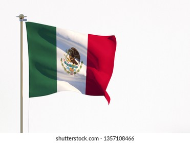 Flag Mexico on white background. 3d rendering