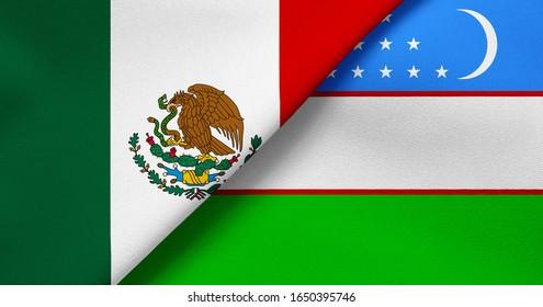Flag of Mexico and Uzbekistan