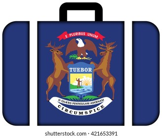 Flag of Michigan State. Suitcase icon, travel and transportation concept
