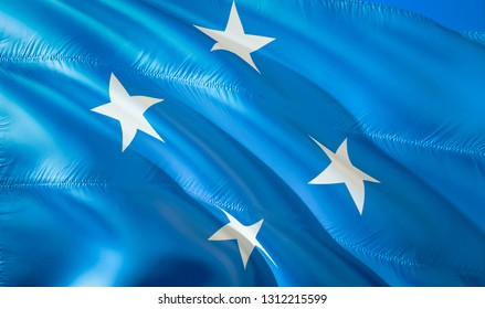 Flag of Micronesia. 3D Waving flag design. The national symbol of Micronesia, 3D rendering. National colors of Micronesia 3D Waving sign background design. 3D ribbon, wallpaper, pattern background